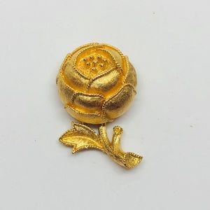 Vintage Small Gold Crown Trifari Flower Pin Brooch